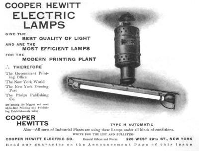 Peter Cooper Hewitt fluorescent lamps